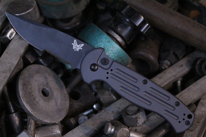 "Benchmade AFO II 3.56"" Automatic Knife / Black Serrated / Custom Sniper Grey Cerakote"