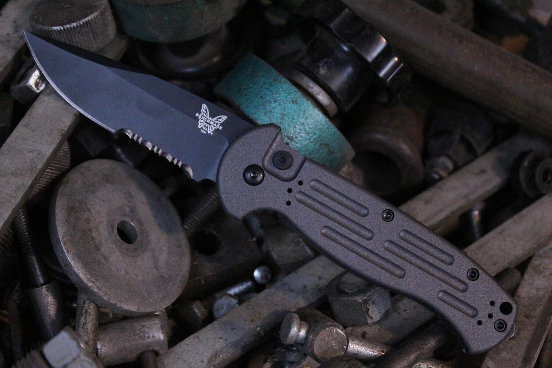 "Benchmade AFO II 3.56"" Automatic Knife / Black Serrated / Custom Cobalt Cerakote"