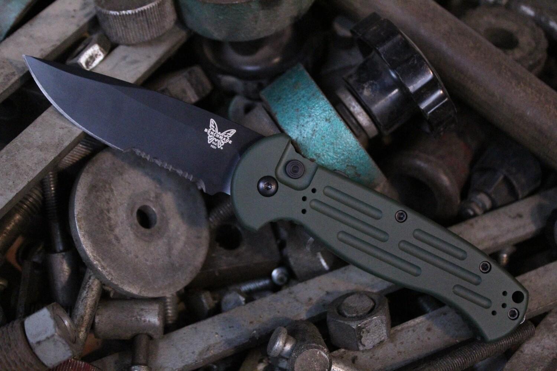 "Benchmade AFO II 3.56"" Automatic Knife / Black Serrated / Custom Eastern Front Green Cerakote"