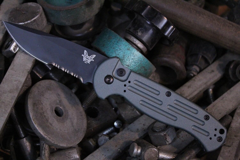 "Benchmade AFO II 3.56"" Automatic Knife / Black Serrated / Custom Charcoal Green Cerakote"