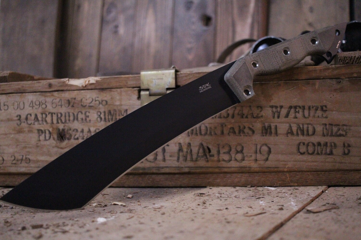 "3DK Severance 10"" Fixed Tanto Point / Black Cerakote K110 Blade / Scandi Grind / Tan Micarta Handle"