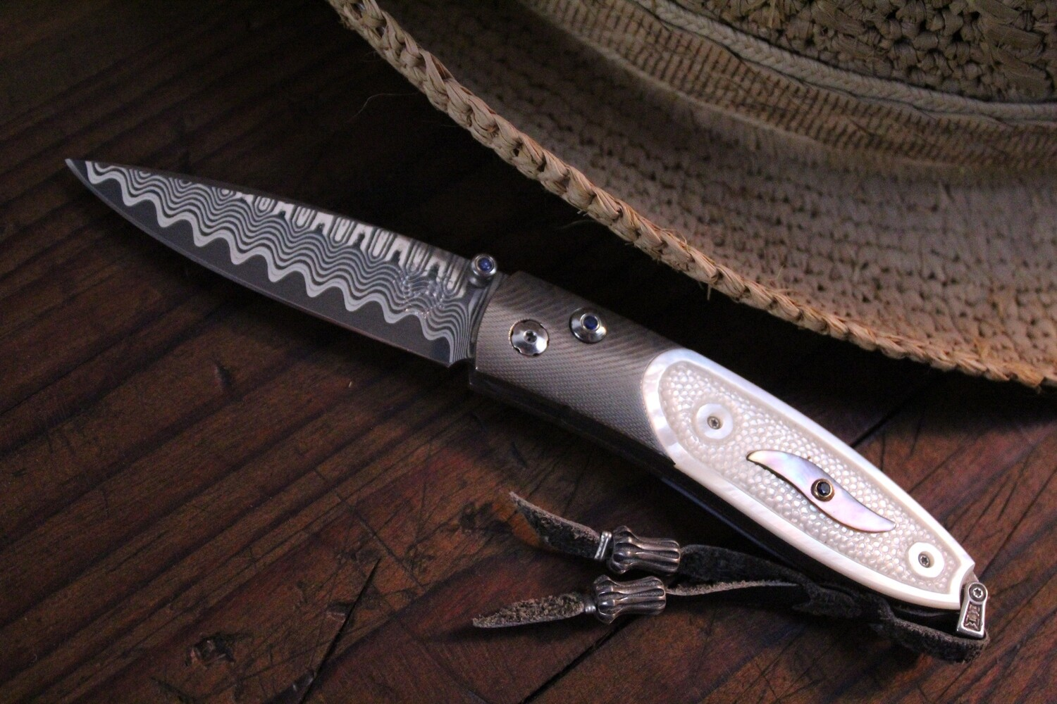 William Henry Studio B05 Oasis Wave Damascus / Carved Pearl / Blk Lip Pearl Inlay / Sapphire / No. 63/100