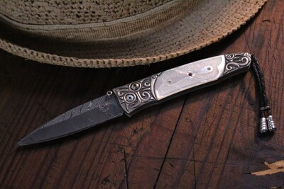 B30 Quarterly Boomerang Damascus / Hand Carved Fossilized Bone / 18k Gold / Silver / Red Topaz & Sapphire / 121533 (Pre Owned)