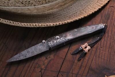 William Henry Studio B10 Luxor Raindrop Damascus/Blk Lip Pearl/Hand Engraved/Diamonds/No. 4/10