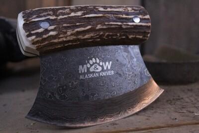 M&W Ulu Knife / Moose Antler / Damascus