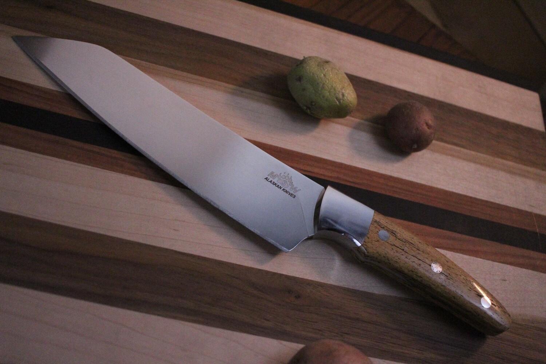 """M&W Alaskan Knives 8"""" Cooks Knife / Stellar Sea Cow Rib Bone / Elmax"""