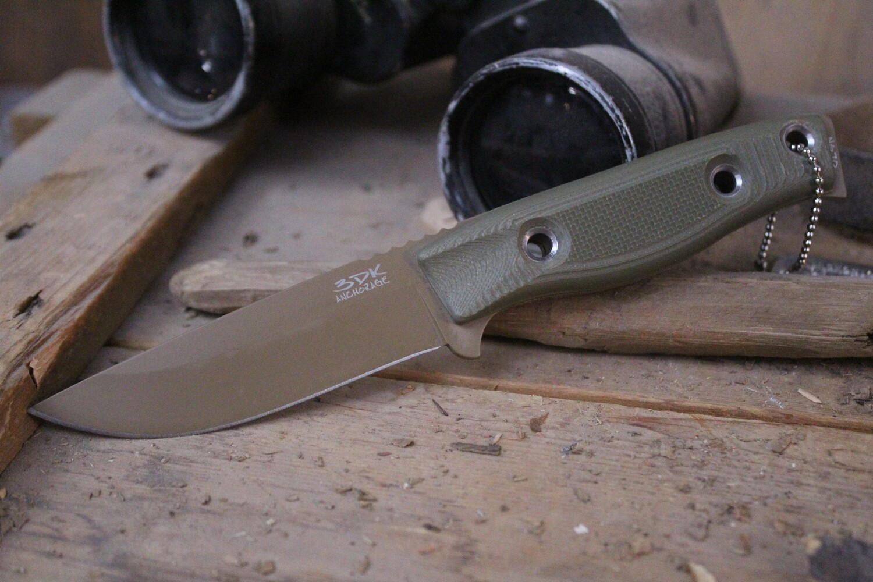 "3DK MAK 4"" Fixed Drop Point, Desert Tan Cerakote N690 Blade / OD Green G10 Handle"
