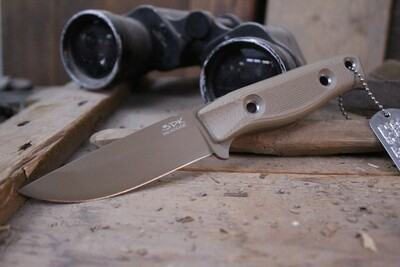 "3DK MAK 4"" Fixed Drop Point, Desert Tan Cerakote N690 Blade / Desert Tan G10 Handle"