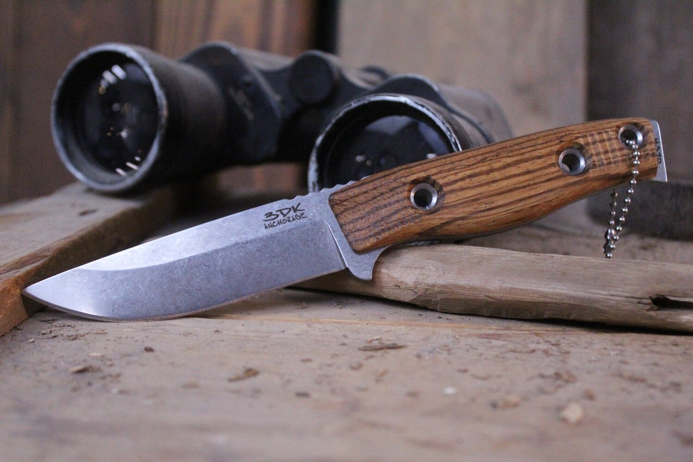 "3DK MAK 4"" Fixed Drop Point, N690 Blade / Zebra Wood Handle"