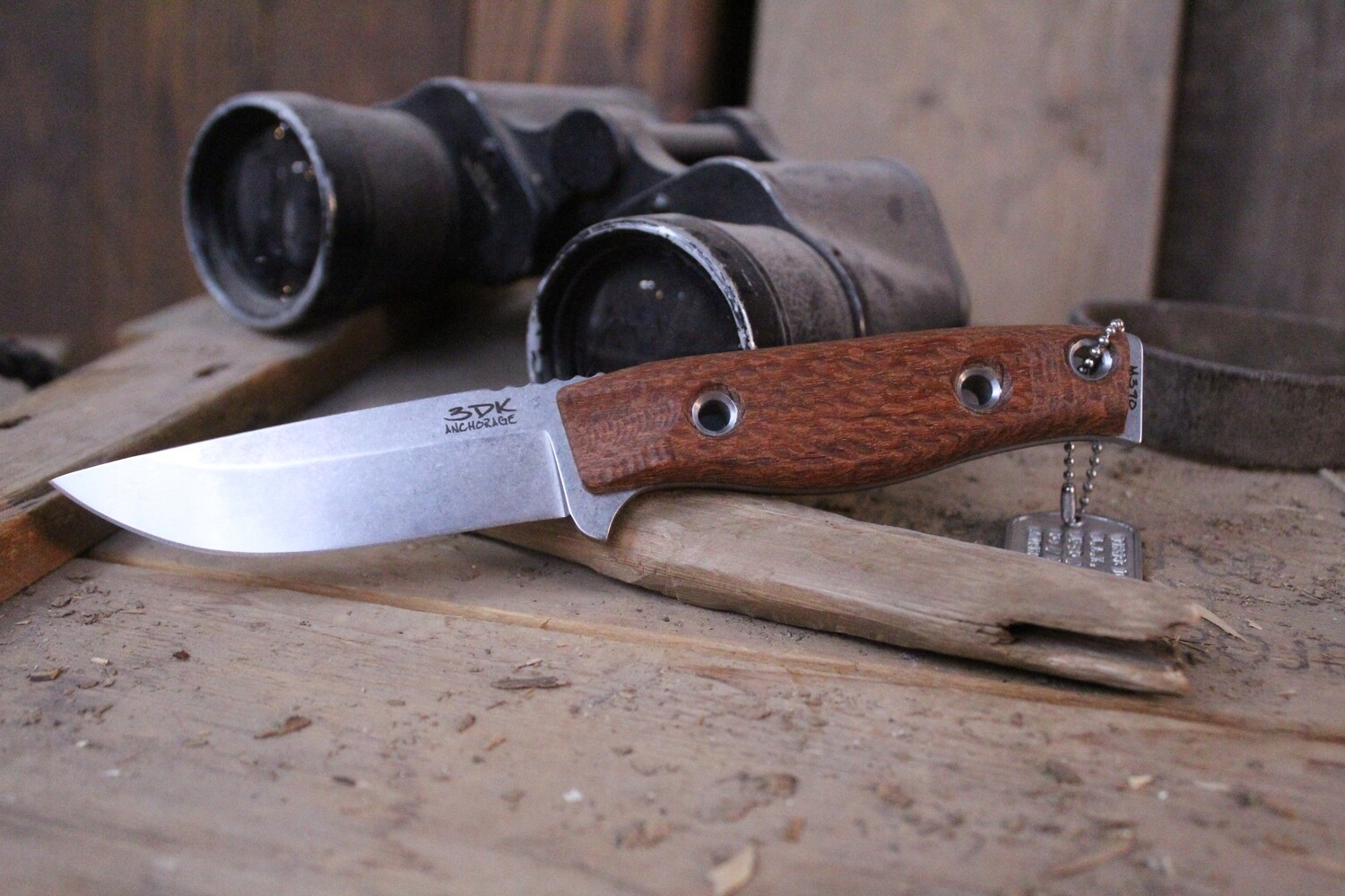 "3DK MAK 4"" Fixed Drop Point, N690 Blade / Lacewood Handle"