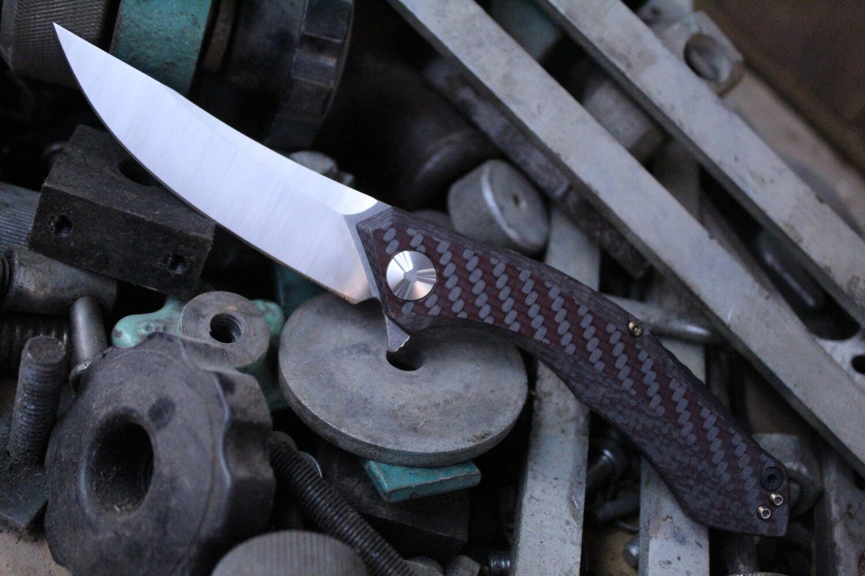 "Zero Tolerance 0462 Sinkevich 3.7"" Flipper Knife Red Carbon Fiber / Satin / Bronze Ano"