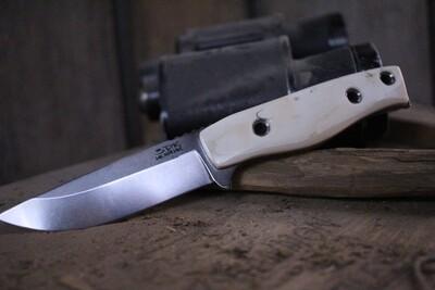 """3DK MAK 4"""" Fixed Drop Point, K110 Blade / Fossilized Walrus Ivory"""