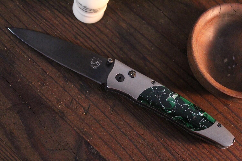 "William Henry Studio Gentac B30 Verde 3.25"" Spinel Studed Button Lock Folder / Titanium & Green Sparkle Kirinite /  Satin 20CV"