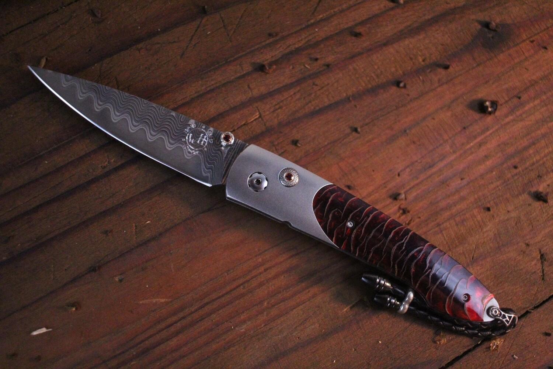 "William Henry Studio Scarlet Pine 2.75"" Button Lock Folder / Titanium & Pine Cone /  ZDP-189 Wave Damascus"