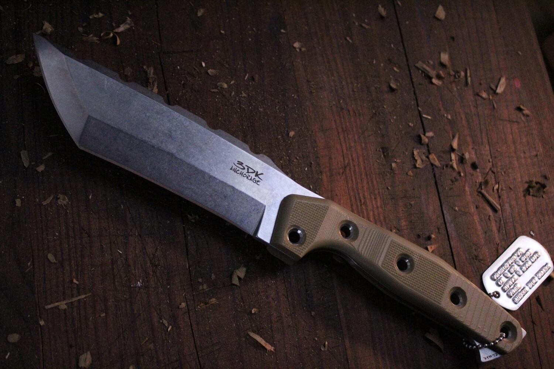 "3DK Amuk 6"" Fixed Tanto Point/ Elmax Blade / Desert Tan G10 Scales"