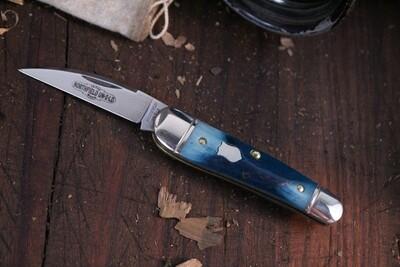 "Great Eastern Cutlery Little Rattler 1.95"" Folding Knife / Blue Teal Natural Bone / Satin 1095 ( Pre Owned )"