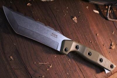 "3DK Amuk 6"" Fixed Tanto Point, Elmax Blade / OD Green G10 handle"