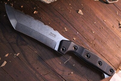 "3DK Amuk 6"" Fixed Tanto Point, Elmax Blade / Black G10 handle"