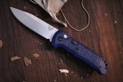 "Benchmade Casbah 3.4"" Automatic Knife / Satin / Blue Grivory ( Prototype )"