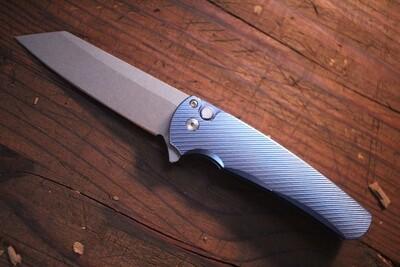 "Pro-Tech Malibu 3.30"" Manual Reverse Tanto Flipper Knife / Blue Titanium / Stonewash CPM-20CV / MOP Button"