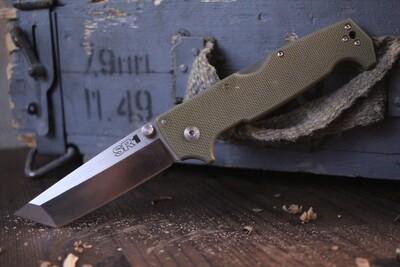 "Cold Steel SR1 4"" Folding Knife / OD G10 / Satin S35VN / Tanto ( Pre Owned )"