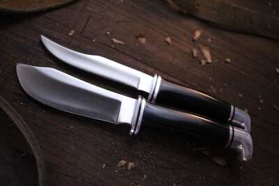 Buck Vintage 104 Twin Fixed Blade Set / Black Phenolic / Satin ( Pre Owned )