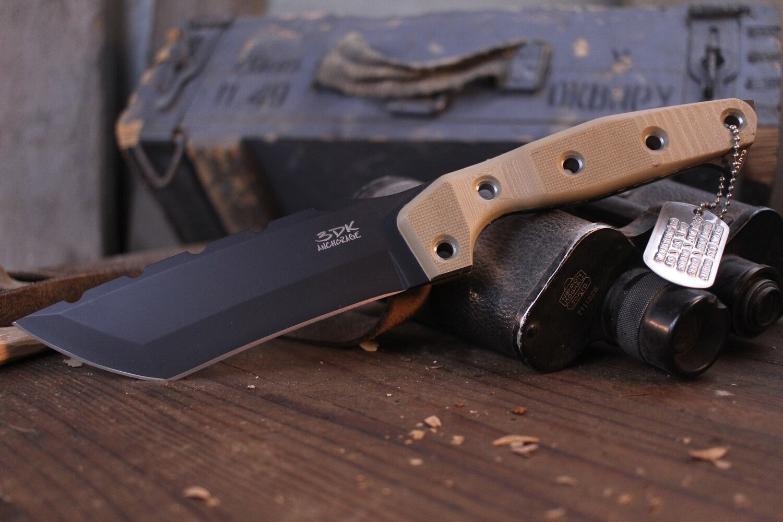 "3DK Amuk 6"" Fixed Tanto Point, Black Cerakote Elmax Blade / Desert Tan G10 Handle"