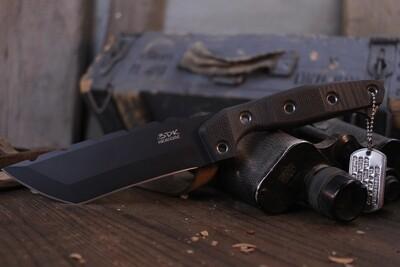 "3DK Amuk 6"" Fixed Tanto Point, Black Cerakote Elmax Blade / Black G10 Handle"