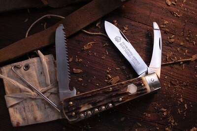 """Puma Classic Universal Jagdmesser 4.5"""" Overall Hunting Knife, Stag Horn / Polished Solingen Steel / Nickel Bolster(Pre Owned)"""