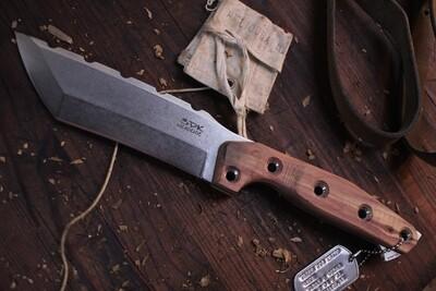 "3DK Amuk 6"" Fixed Tanto Point, Elmax Blade / Cedar Scales"
