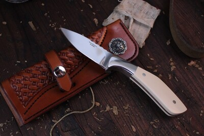 "Russ Kommer Custom Semi-Skinner 3"" Fixed Blade Knife / Westinghouse Ivory Micarta / Polished RWL-34"