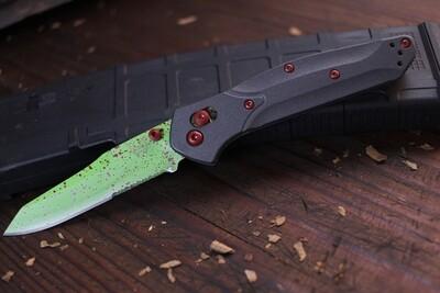 """Benchmade Osborne 3.4"""" AXIS Lock Knife / Custom Zombie Splatter Cerakote / S30V ( Pre Owned )"""