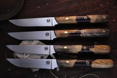 """Semper Sharp 4.5"""" Steak Knife Set Of 4 / Buckeye Burl & Kiwi Epoxy / Satin Nitro V"""