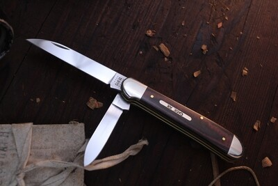 """Case Wharncliffe Copperhead 10249WSS 3.875"""" / Back-Red Micarta / Silver Bolsters"""