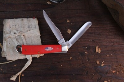 """Case American Workman Mini Trapper 4207SS 3.5"""" / Red Synthetic / Silver Bolsters"""