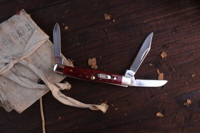 """Case Small Stockman 6333SS 2.63"""" / Red Jigged Bone / Silver Bolsters"""