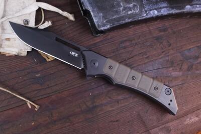 "Zero Tolerance 0223 3.5"" Galyean Frame Lock Knife / Tan G10 & Black Ti / Black 20CV ( Pre Owned )"