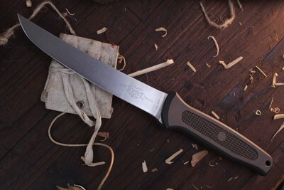 """Microtech Classic Black Marlin 7"""" Fillet Knife / Aluminum & Rubber / CPM-S30V / #216 ( Pre Owned )"""