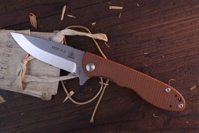 "TOPS Knives Mini Scandi Folder MSF-4.0 3.25"" Flipper Folder / Tan Micarta / Stonewashed N690"