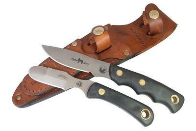 Knives of Alaska Alpha Wolf / Muskrat Combo Fixed Blade Knife (D2 Steel / SureGrip™) W/Dual Leather Sheath
