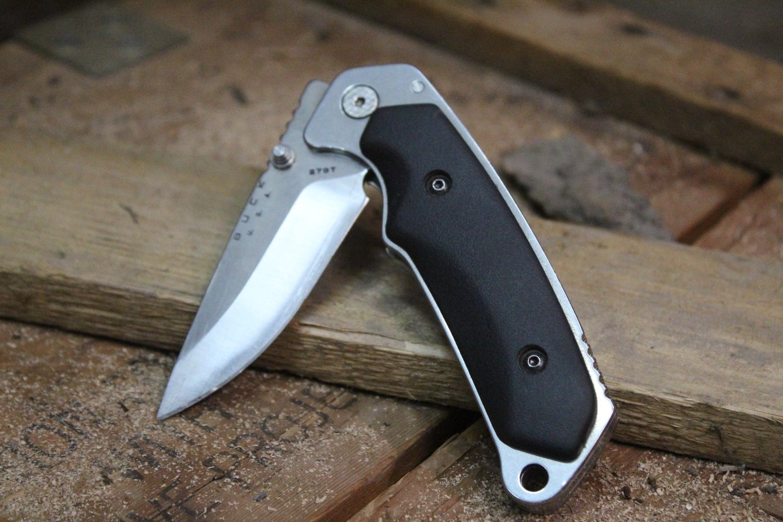 "Buck Alpha Hunter 3.25"" Liner Lock Folding Knife, Black Rubber / Satin ( Pre Owned )"