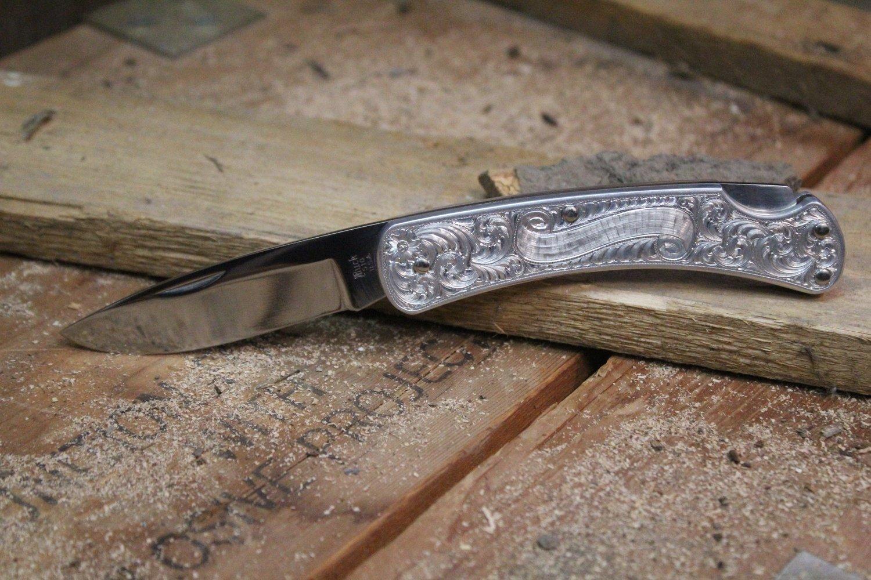 "Buck 510 Classic II 3.125"" Manual Folding Knife, Polished & Engraved Aluminum / Satin"