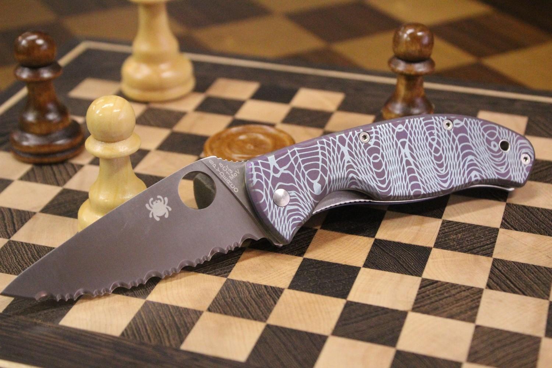 "Spyderco Tenacious 3.375"" Folding Knife, Custom Anodized Titanium  / Satin Full Serrated"