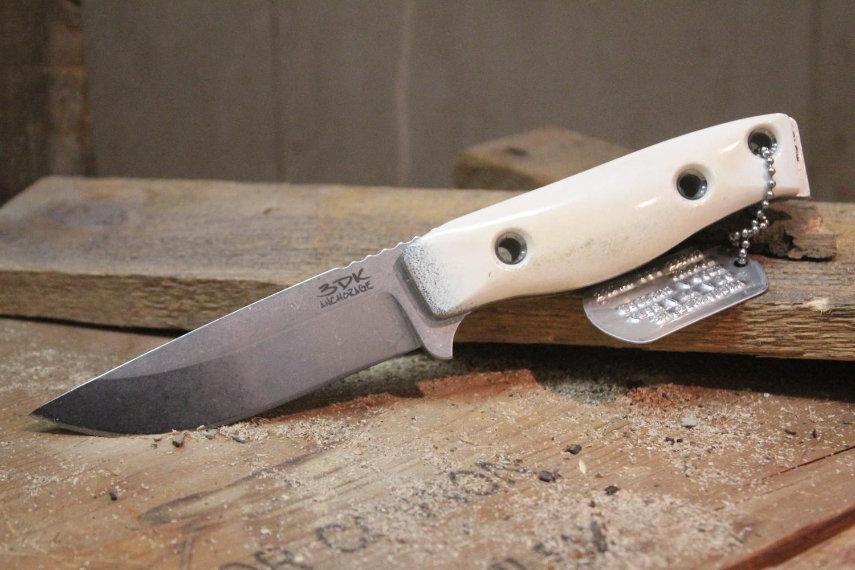 """3DK MAK 4"""" Fixed Drop Point, N690 Blade / Caribou (Reindeer) Antler handle"""