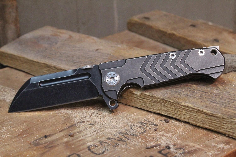 "Andre de Villiers Mid-Tech Mini Butcher 3""  Flipper Knife, Distress Blackwash Titanium / Blackwash Wharncliff"