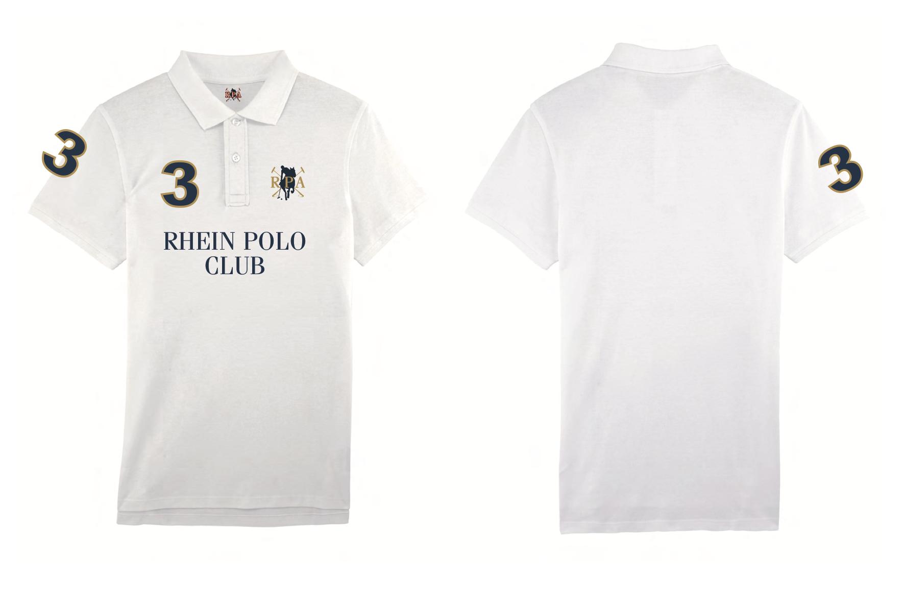 "Herren Polo Shirt ""Rhein Polo Club"" white 00017"