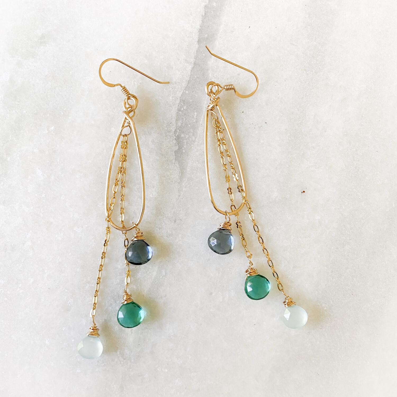 Ocean Blue Ombre Gemstone Teardrop Earrings SQ4902394
