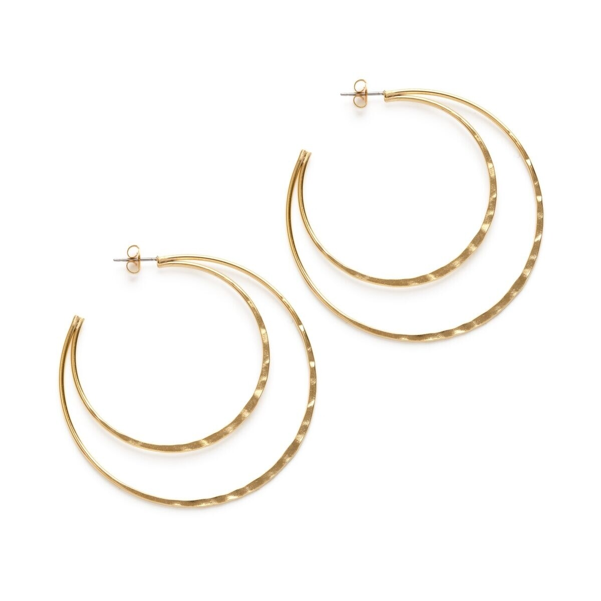 Double Hammered Hoop Studs 22DHH