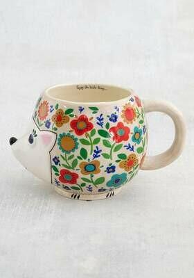 Folk Mug Floral Hedge Hog MUG404