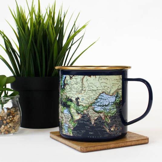 Blue Enamel Map Mug